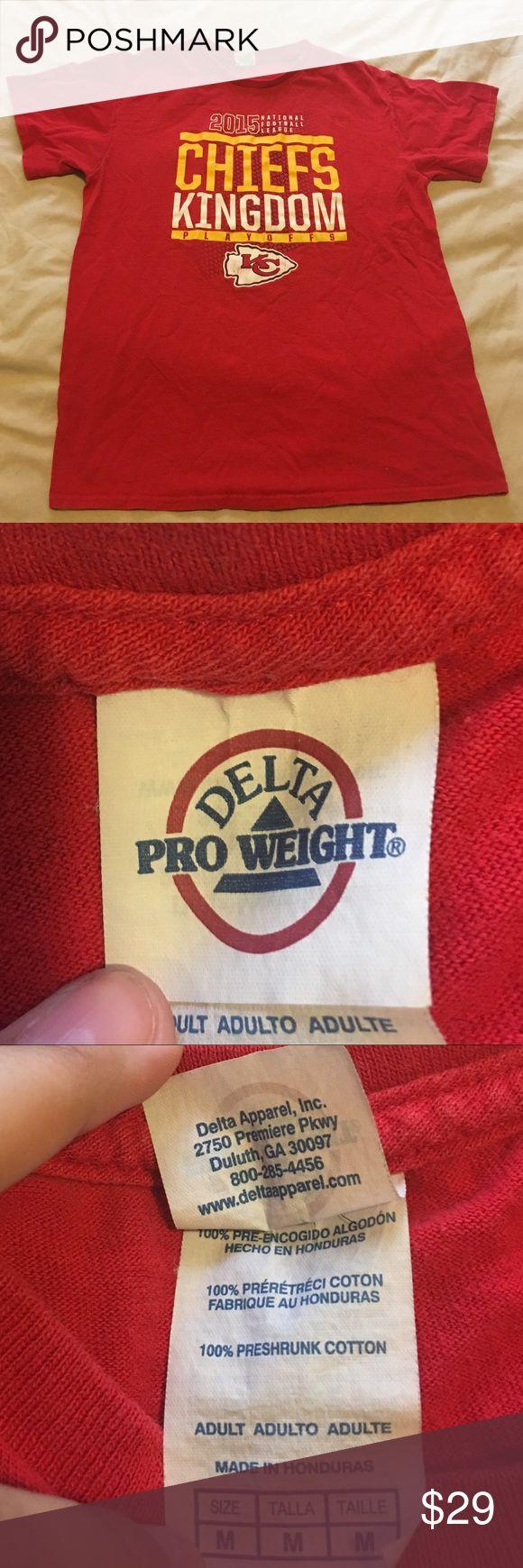 """Women's red """"CHIEFS KINDOM 2015"""" shirt Women's red """"CHIEFS KINGDOM 2015 NFL PLAYOFFS"""" short sleeve shirt. Chiefs logo near bottom. 100% cotton delta pro wieght Tops Tees - Short Sleeve"""