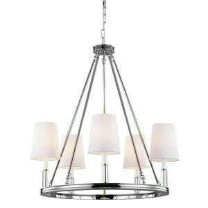 Feiss Lismore 5 Light Chandelier In Polished Nickel Lismoresku Backplate Canopy Width Category Chandeliersfinish Nickelshade White