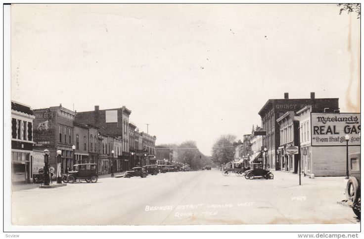 RP: Main Street , Business section looking West , QUINCY , Michigan , PU-1931 - Delcampe.com