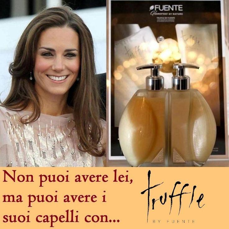 Come da immagine… se anche Kate Middleton ha scelto Truffle by Fuente per i suoi capelli, allora deve proprio essere un trattamento regale! E con le sue componenti di tartufo bianco, diamante e vera polvere di meteorite, rimineralizza i capelli e li illumina di luce propria ;-)