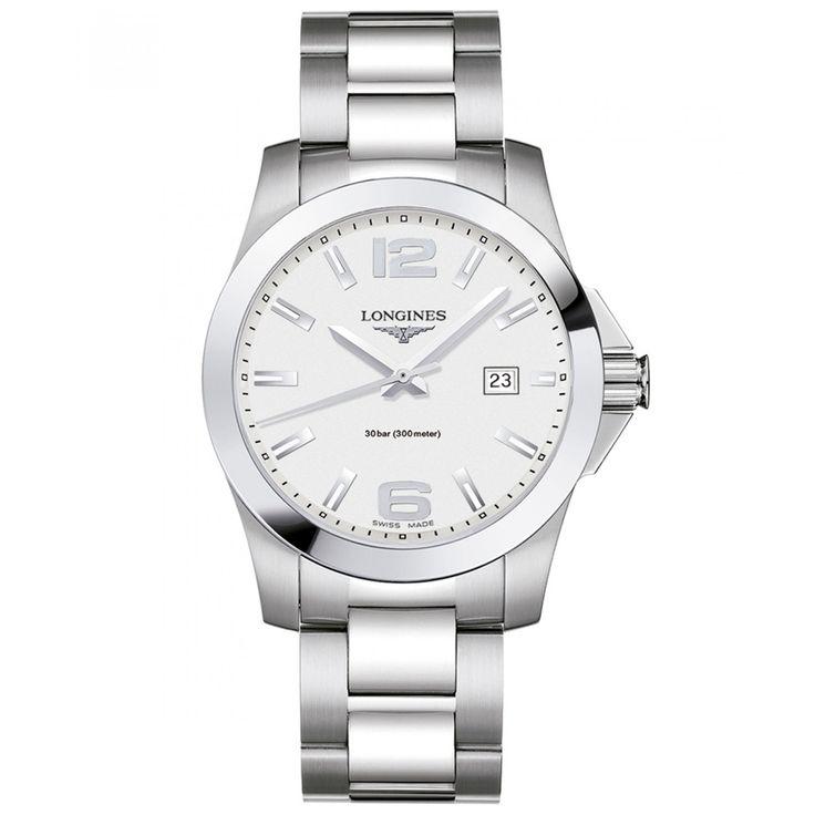 Reloj Longines con caja bisel y extensible de brazalete de acero inoxidable carátula blanca indicadores luminiscentes y manecillas plateadas.
