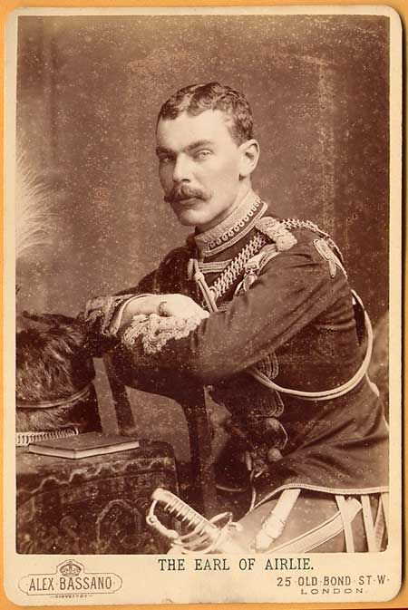The Earl of Airlie died leading the 12th Lancers in a gallant charge at Diamond Hill, June 11, 1900 , South Africa. Here the Earl is shown in the uniform of the 10th Royal Hussars in 1899.