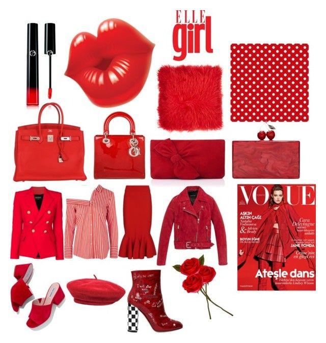"""Red Hot"" by airsunshine on Polyvore featuring Steve Madden, Dolce&Gabbana, Edie Parker, L.K.Bennett, Hermès, Christian Dior, Andrew Marc, Adrienne Landau, Brixton and Balmain"