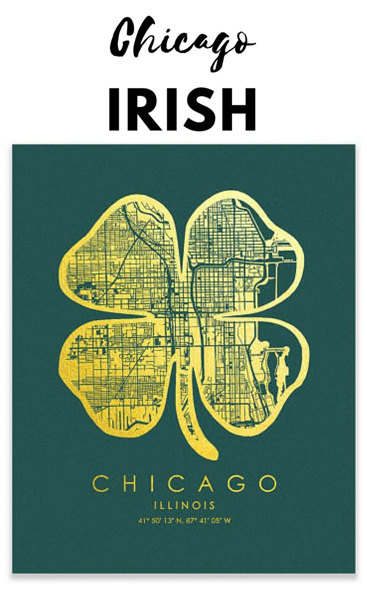 Chicago gold foil city shamrock.  This is awesome.  #chicago #stpatricksdaydecor #affiliate