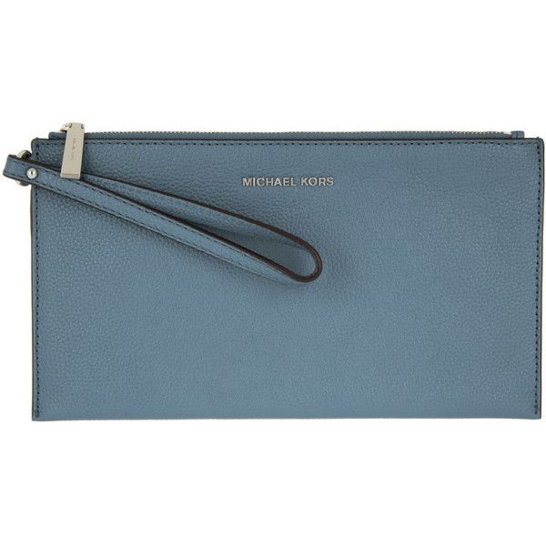 Michael Kors Evening Bag - Mercer LG Zip Clutch Leather Denim - in... ($120) ❤ liked on Polyvore featuring bags, handbags, clutches, blue, leather purses, michael michael kors handbags, blue handbags, evening bags and evening handbags