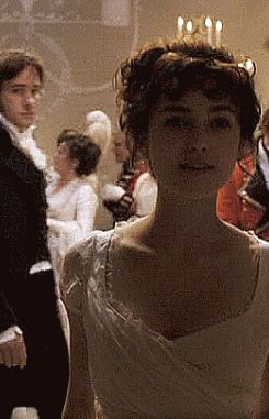 (gif) Pinning to admire the glorious camerawork here. Mr. Darcy doesn't even have any lines in this scene--he just sort of appears as Lizzie's walking, looks at her, and then fades out again. GAH. CAMERAS.