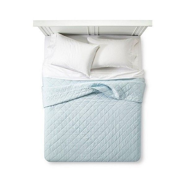 Blue Crochet Trim Linen Blend Quilt ($80) ❤ liked on Polyvore featuring home, bed & bath, bedding, quilts, blue, twin bedding, patterned bedding, quilted bedding, shabby chic bedding and twin bed linens