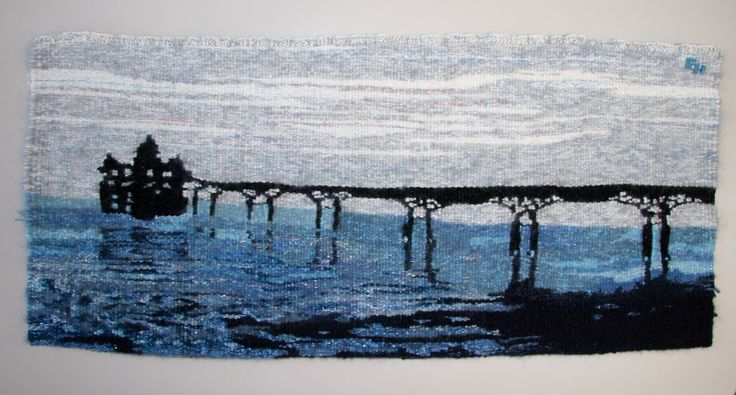 Clevedon Pier, handwoven tapestry