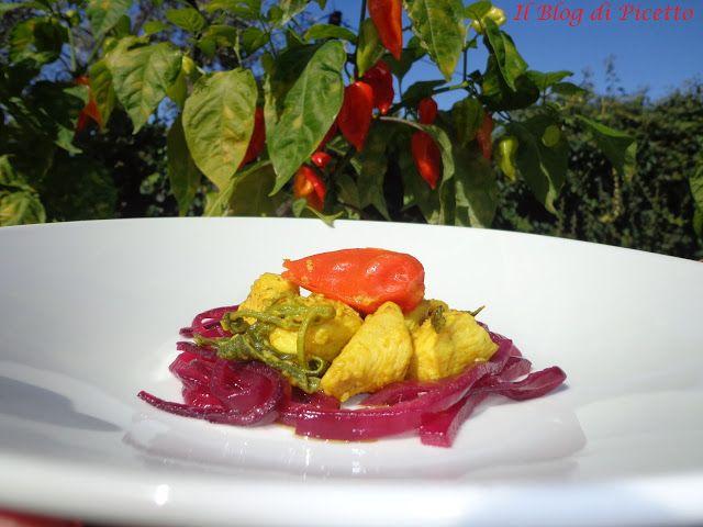 Bocconcini di petto di pollo con peperoncino NAGA MORICH e cipolla di Tropea in agrodolce