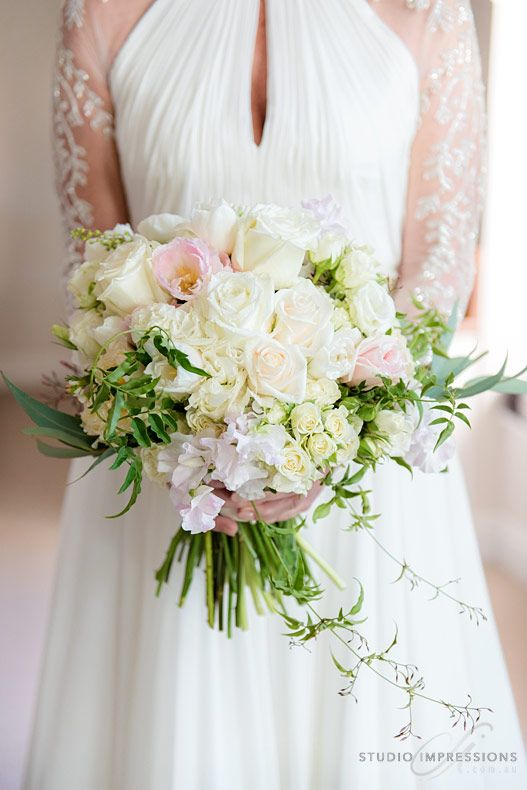 Beautiful Gardenesque Wedding Bouquet With Sweet Pea Double Tulips And Trailing Jasmine Image By