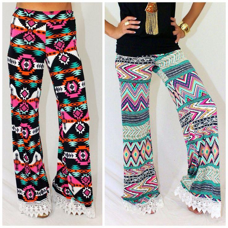 """Cabo"" Tribal Boho Palazzo Pants w Crochet Trim Bottom Hippie Festival USA $48 | eBay"