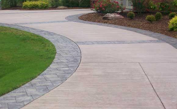 Stamped concrete driveway.