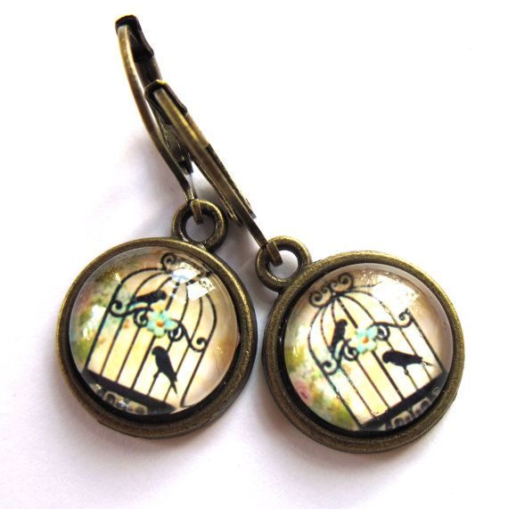 Bird Cage Earrings Vintage Style Retro Birdcage Fashion