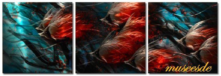 【10P13Jun14】【NEW】近代芸術 インテリアアート 壁掛け(メタル抽象アート、モダン彫刻、オフィス店舗飾り、アートパネル) モダンメタルアート、おしゃれな家具インテリア3パネルSET 熱帯魚群 MP3H020M【楽天市場】