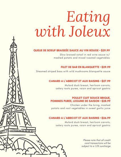 Best  French Restaurant Menu Ideas On   French