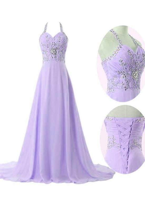 d6a75f739ee Lavender Chiffon Long Formal Gowns