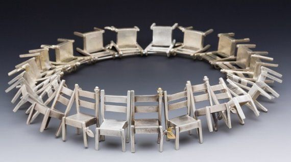 Necklace    Rone' Prinz.   21 assorted chairs on a beautiful sterling cable