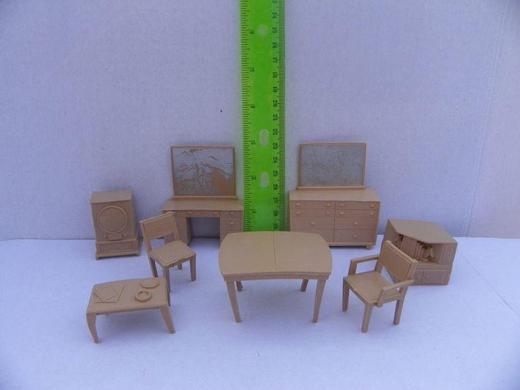 Vintage 1950's Marx Plastic Dollhouse Furniture 8 Piece Beige Set , Miniature Furniture for Tin Metal Dollhouse , Mini Doll House Dresser by ShersBears on Etsy