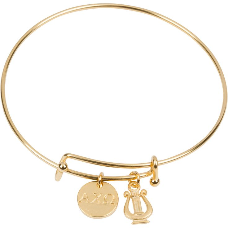 """- gold plated expandable bracelet - 1/2"""" gold plated circle charm - 1/2"""" gold plated lyre charm"""