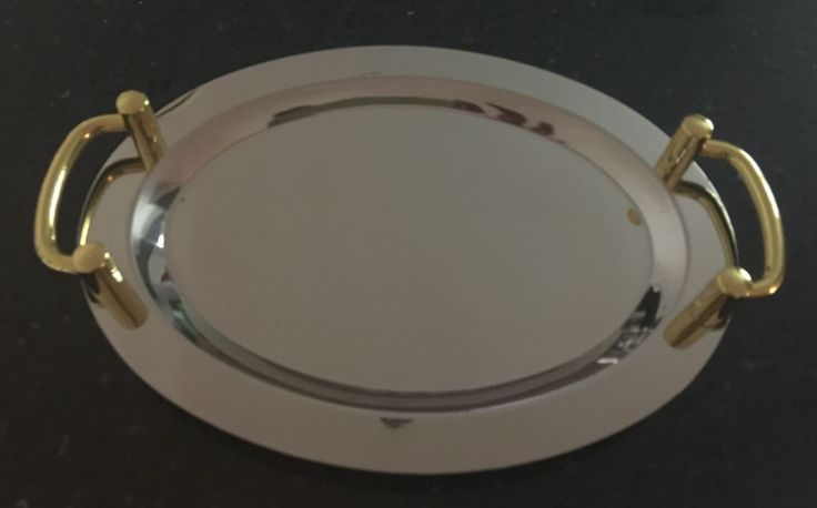 ROUND Mirror Polished Serving Tray with Gold Handles Stainless Steel