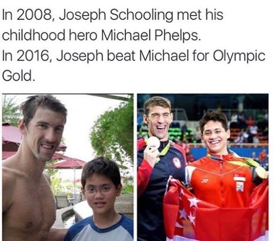 In 2008, Joseph Schooling met his childhood hero, Michael Phelps. In 2016, Joseph beat Michael for Olympics gold