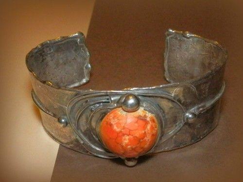 http://megasilver.pl/Bransoleta-p374 #Bracelet #metalwork #handmade #orange #agate #stone #jewelry #jewellery