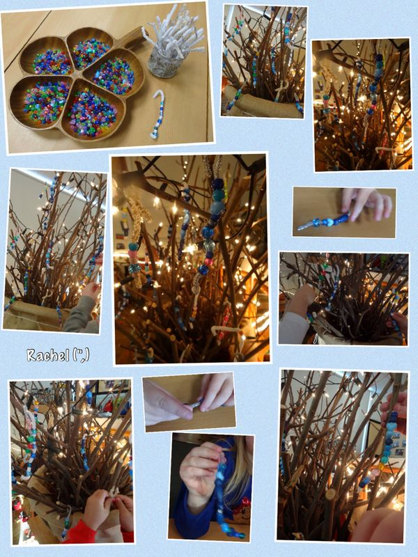 """Threading 'icicles' for our winter 'tree' - from Rachel ("""",)"""