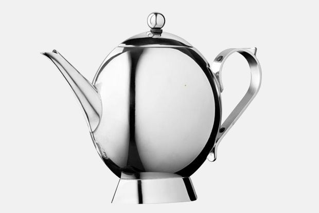 Sunfish Tea Pot  http://www.nickmunro.com/shop/tea-and-coffee/  Sunfish teapot made from 18/10 polished stainless steel with insulated steel handle and knob. Non-drip spout.  Dishwasher safe.  Dimensions:  Capacity: 1 litre  Height: 19 cm  Diameter: 9 cm