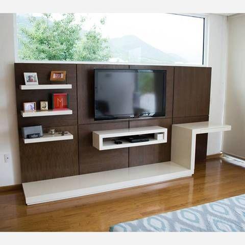 mueble-de-tv-color-marron: http://interioresdecasasmodernas.com/muebles-multifuncionales-espacios-pequenos/