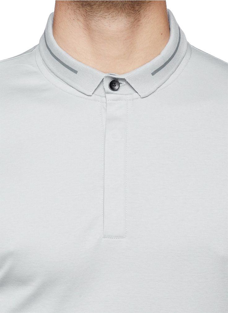 ARMANI COLLEZIONI - Single stripe collar polo shirt | Grey Short Sleeves Polos | Menswear | Lane Crawford