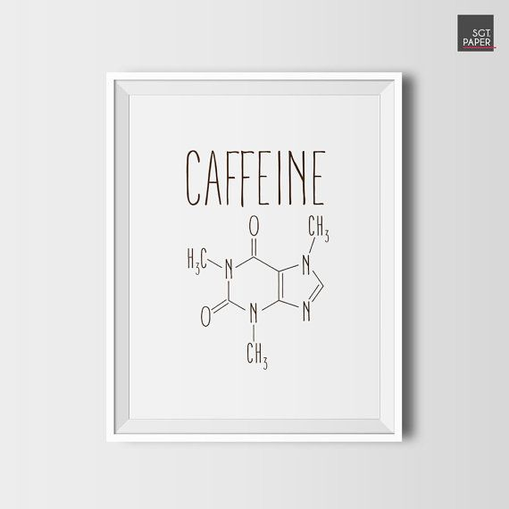Caffeine molecule, coffee decor, printable coffee, digital download, coffee wall art, formula, kitchen decor, decor for coffee shop