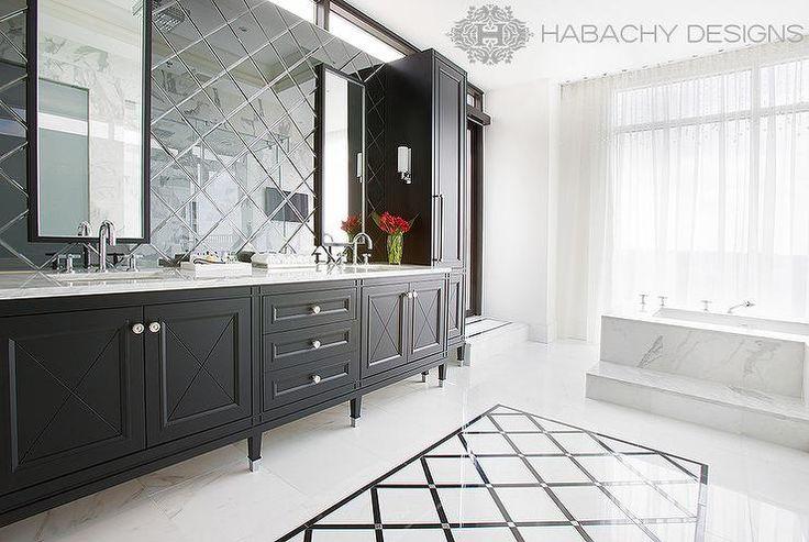 Diamond Pattern Mirrored Backsplash, Contemporary, Bathroom