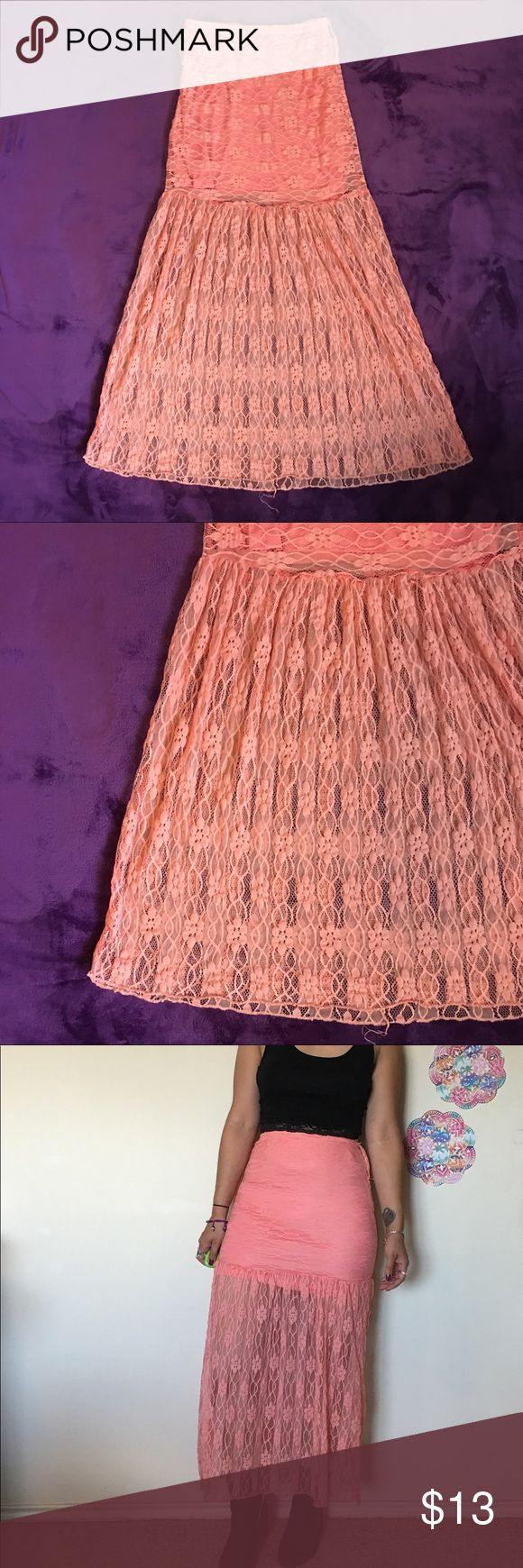 "Rue 21 Peach long festival lace maxi skirt Length: 35"" Waist: 11"" 95% nylon 5% spandex  - elastic waist band  **Model is 5'2"", small/medium, size 3/5 and 26"" waist.  All items are measured with garment laying flat. If you have any questions feel free to ask. Check out my other items listed Rue 21 Skirts Maxi"