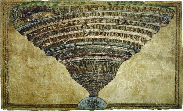 La carte de l'enfer de Botticelli (musée du Vatican) est un illustration de la Divine Comédie de Dante.