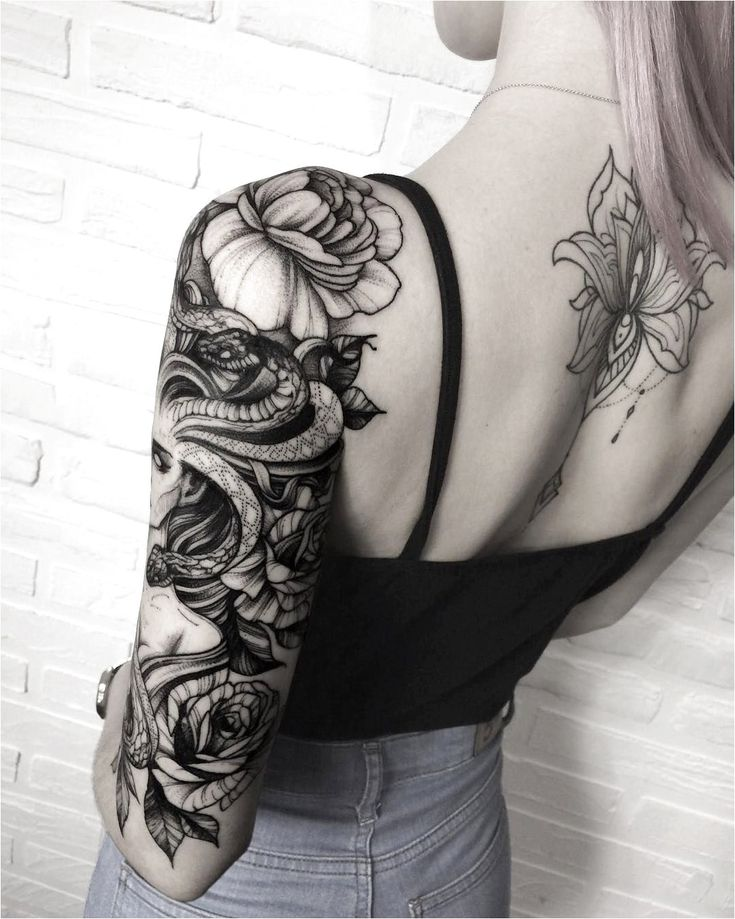 snake woman sleeve tattoo idea #TattooSleeves Click to see more.