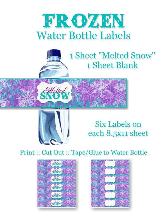 Frozen Birthday Party Water Bottle Labels - DIY, Printable ...