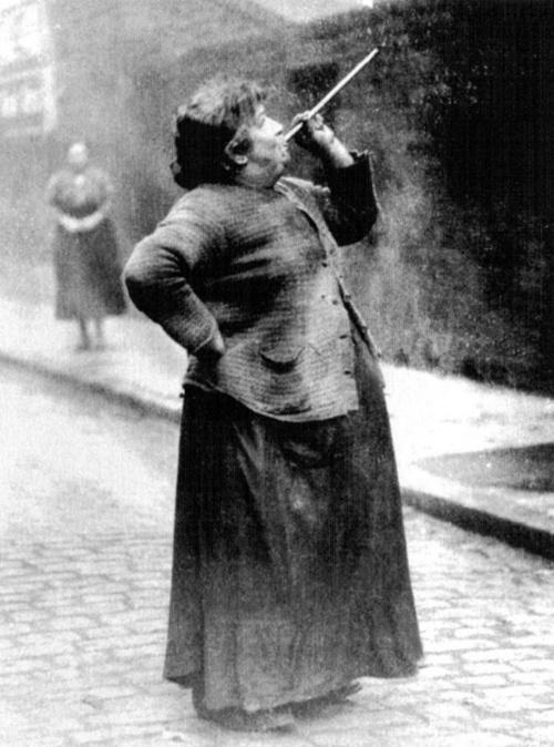 A forgotten profession: In the days before alarm clocks were widely affordable, people like Mary Smith of Brenton Street were employed to rouse sleeping people in the early hours of the morning. Photograph from Philip Davies' Lost London: 1870-1945. pinned by heywardhouse.org