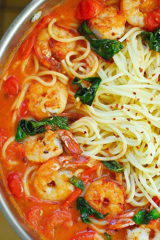 Shrimp Pasta with Garlic Basil Tomato Sauce