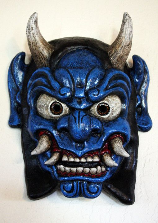 Oni face appearance, needs to be filtered through our chosen style  Oni Mask in Blue by FAUSTandCOMPANY on Etsy, $175.00 【the blue spirit in avatar ; )