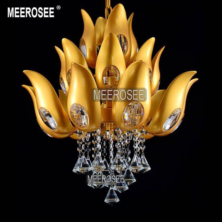 Find More Chandeliers Information about Floral Design Gold Crystal Chandelier…