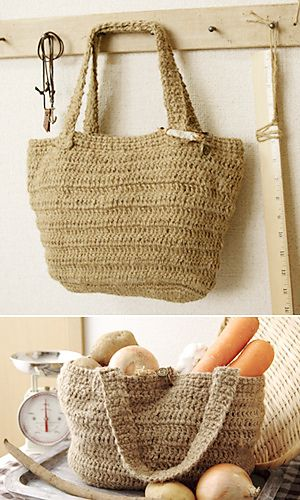 Free Crochet Pattern: Kenaf Market Bag by Pierrot (Gosyo Co., Ltd)