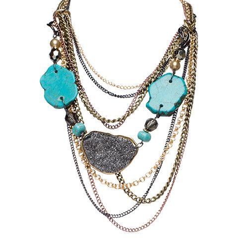 Carol Dauplaise Chain Drape Stone Necklace