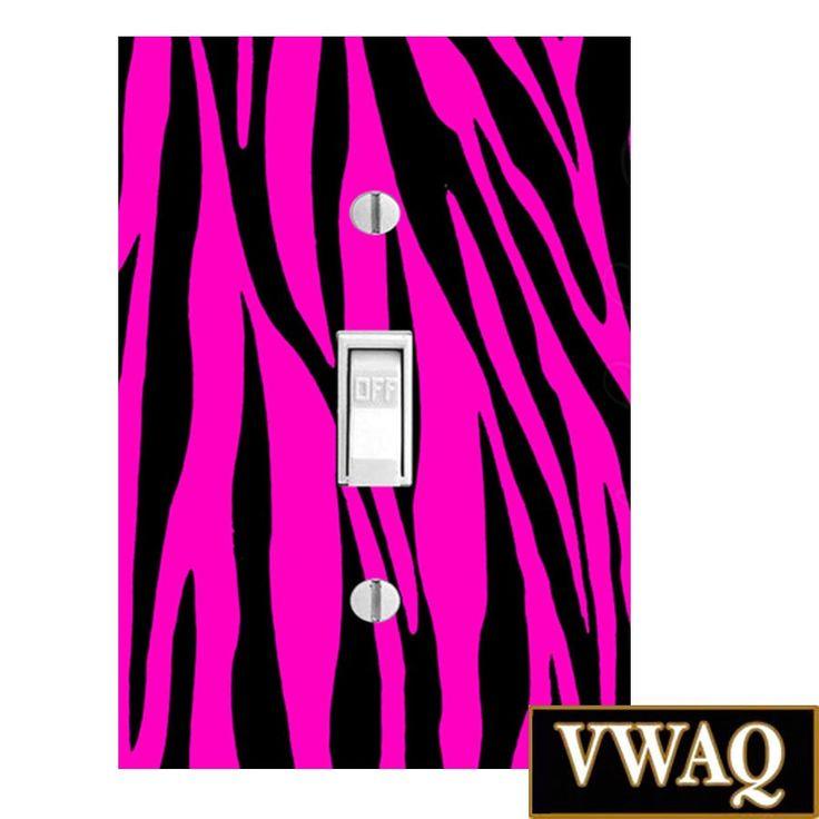 Zebra Hot Pink Light Switch Single Toggle (Ready to Hang) Hot Pink Zebra Pattern Theme Decor VWAQ-LS7SS