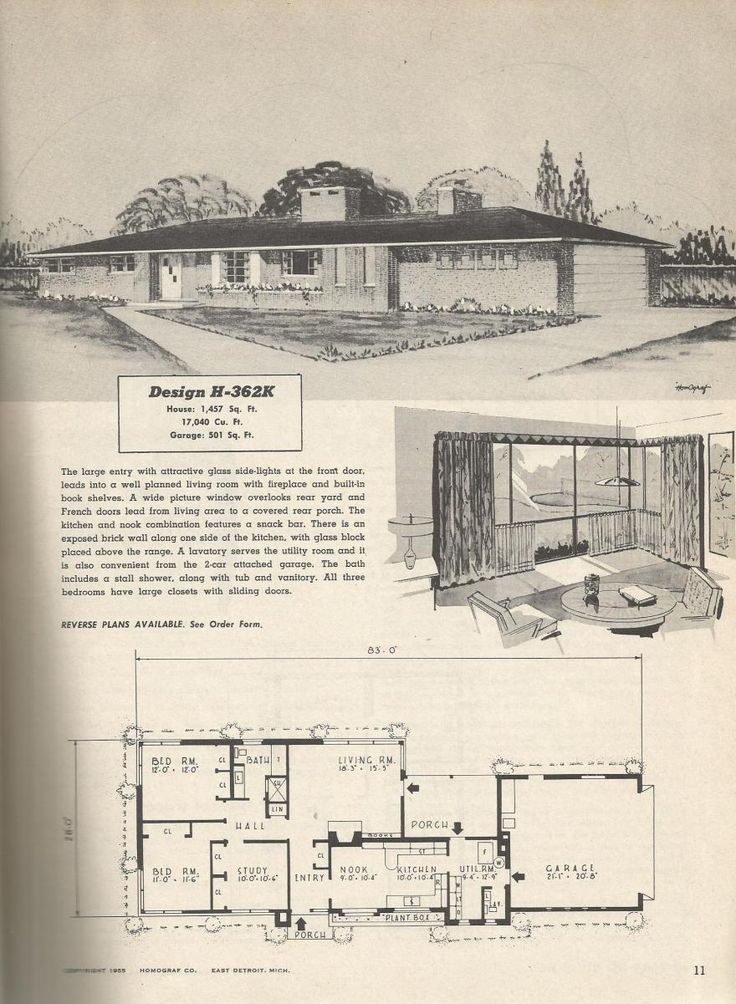 Vintage House Plans houses mid century homes