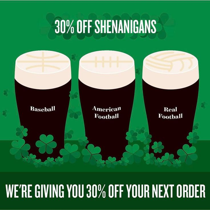 """Happy St Patricks Day - Lets Celebrate!  We're giving you 30% off your next order why I hear you ask? Cause why not - It's Friday!  Now go out there tonight and make Patrick proud! Use coupon code """"lucky"""" at check out to claim your discount  Have a good one - JP  #stpatricksday #paddysday #discounts #coupon #nfl #mlb #nba #epl #football #soccer #baseball #basketball"""