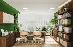 N este apartamento em Joinville a sacada foi fechada, dando lugar a uma varanda verde 🍃 com home office cheio de espaço para livros ...