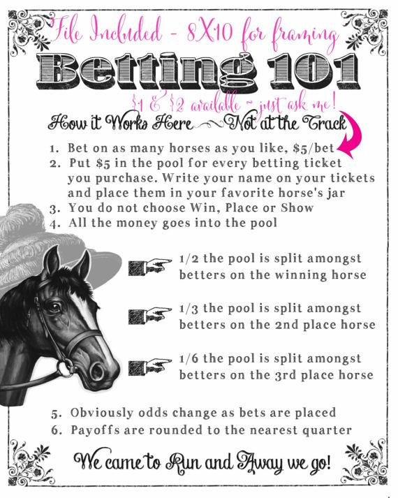 Derby Party Printable Kentucky Derby Preakness Belmont Stakes Betting Sheets Derby Betting Game Instant Download for you to print for your home or office party! Four Files Included that you can instantly download upon purchase: 1) Derby Horse labels for horses, 2) 8X10 Betting 101 sheet for display or frame, 3) name tickets for betting, and 4), a sign for the cash jar. See Second Photo for how to set up a cute Betting Display! Just purchase, and youll be able to download, save, and print…