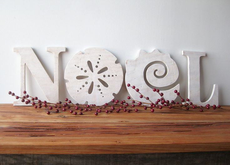 NOEL, Christmas decoration, beach, coastal, word sign, cottage, shabby chic, sand dollar, seashell. $79.00, via Etsy.