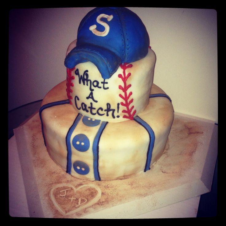 Baseball themed rehearsal dinner cake