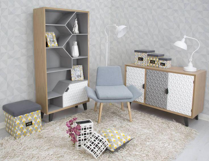 Libreriain legno di abete, legno di quercia,MDFe metallo.